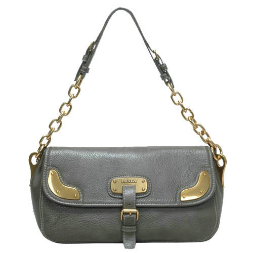 Prada Medium Shoulder Bag in Grey Leather