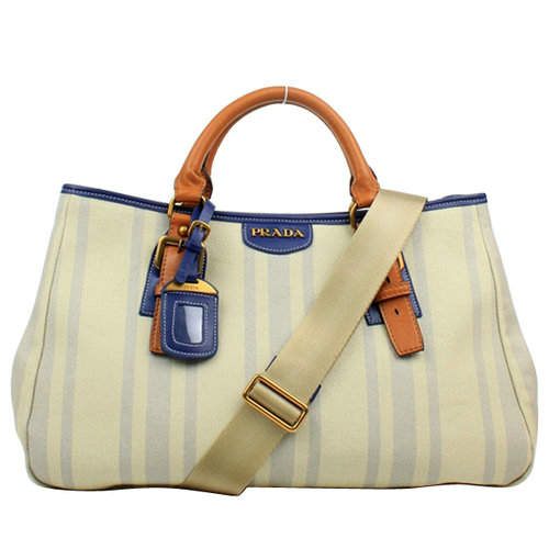 Prada Light Blue Stripe Top Handles