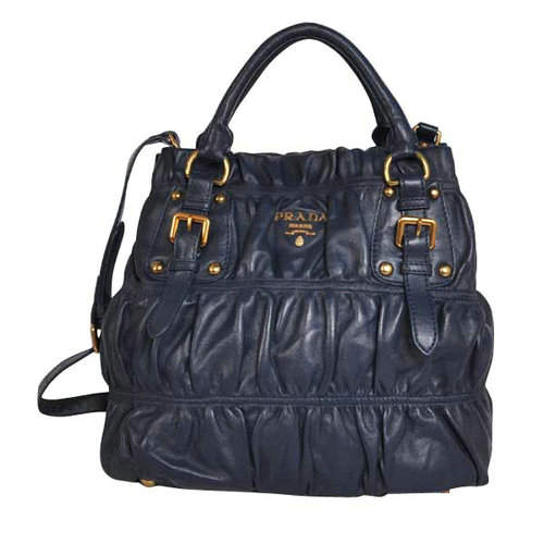 Prada Navy Blue Leather Pleated Tote Bag