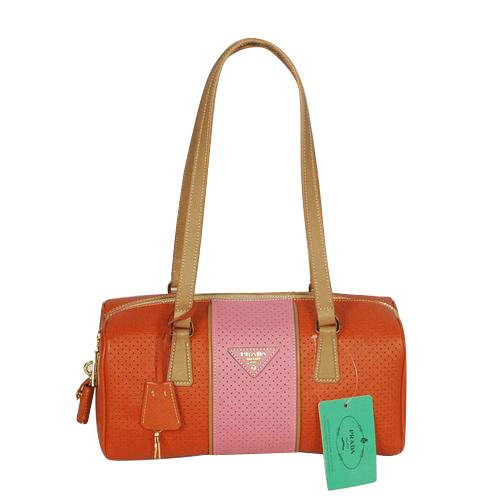 Prada Orange-Pink Bowling Shoulder Bag