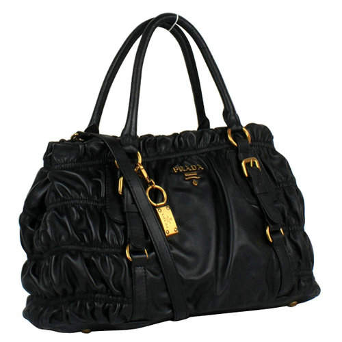 Prada Pleated Black Tote Bag