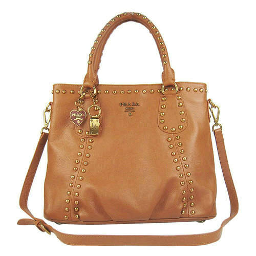 Prada Studded Brown Tote Bag