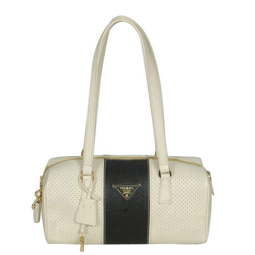 Prada White-Black Bowling Shoulder Bag