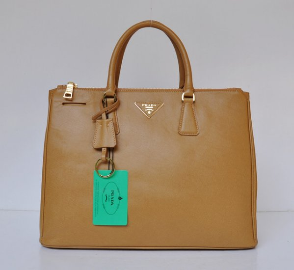 2012 Prada Saffiano Lux Tote Bag in Brown Leather BN1786