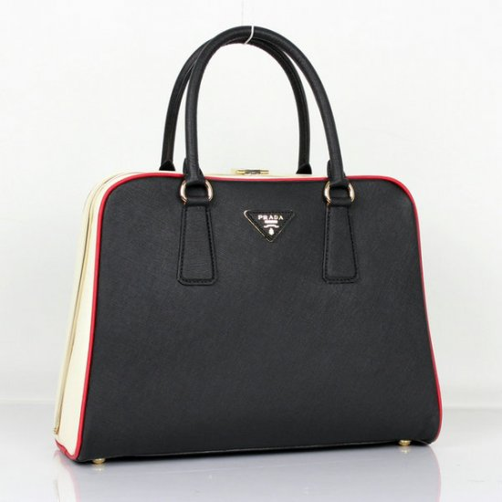 2012 Prada Saffiano Tote Bag Black Cross Grain Leather