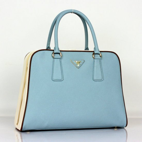 2012 Prada Saffiano Tote Bag Blue Cross Grain Leather