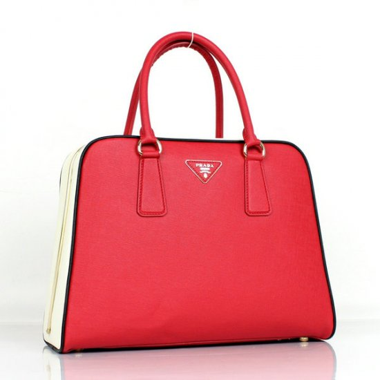 2012 Prada Saffiano Tote Bag Red Cross Grain Leather