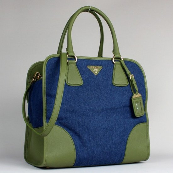 2012 Prada Denim Top Handle Green/Blue Saffiano Leather