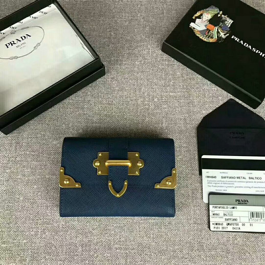 2017 New Prada Saffiano Leather Metal Flap Wallet in Blue