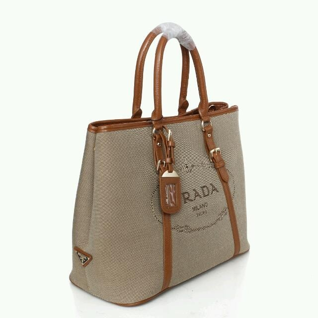 f35ff60c9a Cheap Prada Large Canvas Tote Bag BN1881 with Leather Trim  BN188103 ...